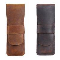 Pencil Bags 2PCS Handmade Leather Storage Bag Cowhide Fountain Pen Case Holder Vintage Retro Accessories, A & C