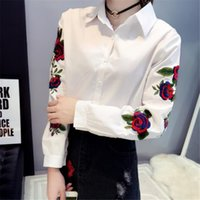 로즈 Womens 셔츠 자수 옷깃 목 긴 소매 느슨한 블라우스 캐주얼 싱글 브레스트 스트라이프 여성 셔츠