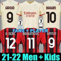 21 22 Giroud AC Mailand Fussball Jersey Fans Spielerversion Maignan Ibrahimovic Kessie Fußball Hemd 2021 2022 Tonali Paqueta Bennacer Rebic Camiseta de Futbol