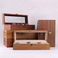 Boîte de rangement carrée Boîte de montres en bois de luxe Affichage de cercueil Montres cadeau pour hommes Organisateur 10 places Collection Coffret Cases Cases