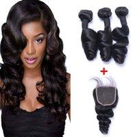 Brésilien Loose Remy Humain Cheveux Tissu avec fermeture en dentelle 4x4 Nœurs blanchis 100g / PC Couleur naturelle Double Wefts Extensions de cheveux