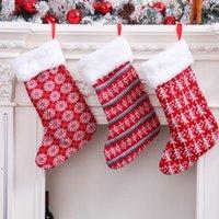 Décorations de Noël en laine tricotée Stock de laine rouge et blanc Sac cadeau pour enfants Sac de Noël bas zzf9154