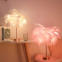 Remote Control Feather Table Lamp USB AA Battery Power DIY Creative Warm Light Tree Feather Lampshade Wedding Home Bedroom Decor