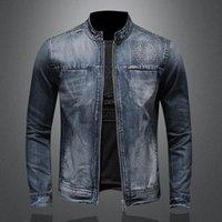 Vestes pour hommes Vintage Denim Veste Coat Moto Biker Jeans Hommes Plus Taille 5XL Slim Fit Stand Collier Homme Haute Qualité HA231