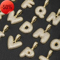 26 English bubble letter pendant full of zircon hip hop trendsetter custom made couple necklace