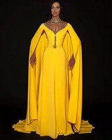 2021 Plus Size Arabic Aso Ebi Yellow Beaded Crystals Prom Dresses High Neck A-line Sexy Evening Formal Party Second Reception Bridesmaid Gowns Dress ZJ665