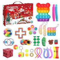 Fidget Toys Christmas Countdown Hand Tear Blind Box Decompression Set DIY Gyro Cube Push Bubble Toy For Adults Children Gifts