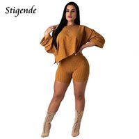 Women's Two Piece Pants Stigende Women Irregular Shorts And Top Set Sexy Slash Neck Crop Casual 2 Long Sleeve 2pcs Outfit