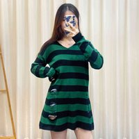 New European And American Long Sleeve Hollow Stripe Knitted Sweater Women's Casual Wear In Autumn And Winter 2020
