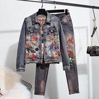 Streetwear Vintage Print Beading Flowers Jeans Set Women Short Denim Jacket Pants Female Plus Size Slim Elastic Suit Women's Tracksuits