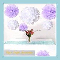 Couronnes décoratives Fournitures de fête Maison JardinWwwholesale-34 Couleurs 20inch (50cm) Papier NT Paper Pom Poms Fleurs Boules de fleurs suspendues Mariage BA