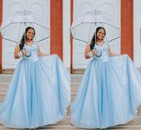 2022 Azul claro Talla grande Vestidos de noche Ocasas especiales Off The Hombro Bling Bling Vestido de fiesta de fiesta de la fiesta de fiesta