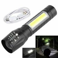Neue tragbare T6-COB-LED-Taschenlampe wasserdicht taktischer USB-Wiederaufladbare Camping Laterne Zoomable Fokus Fackel-Lichtlampe Nachtlichter