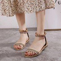 Sandals Retro Mixed Color Weave Bohemian Women Slides String Bead Summer Ladies Shoes 40 41 Zip Cover Heels Sandalen Dames 2021