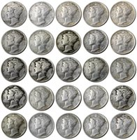 US 1916-1945-S 25pcs Mercury Head 10 센트 (Dimes) Craft 실버 도금 복사 공장 가격 멋진 홈 액세서리 동전