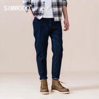 Simwood Весна Зима Новый Свободные Taperd Джинсы Мужчины Высокое Качество Лодыжки Толстые Джинсовые Брюки Плюс Размер Теплые джинсы Si980687 210320