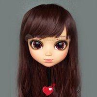 Festa máscaras (p-01) fêmea menina doce resina meia cabeça kigurumi bjd olhos crossdress cosplay japonês anime funde lolita máscara com e peruca