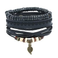 Charm Bracelets Fashion Hippie Vintage Punk Unisex Jewelry Leaf Black Heart Beads Charms Cuff Set Weave Leather Rope Wristbands Bangle