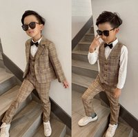 Kids plaid party sets boys lapel long sleeve blazer outwear+waistcoat+trouser 3pcs children gentleman clothing A6899