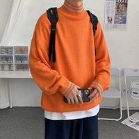 Men's Sweaters Sweater Men Harajuku Fashion Knitted Hip Hop Streetwear Pullover Tops Coats O-neck Oversize Casual Couple Male Orange