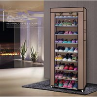 Non-woven Rack Household Cabinet 10 Layers 9 Grid Large Capacity Shoe Storage Dustproof Coffee with Cover