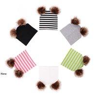 Ins born Winter Warm Striped Knit Cap Double Fur Pompom Ball Beanies Baby Boys Girls Fashion Hip Hop Hats Party Favor Rra2690