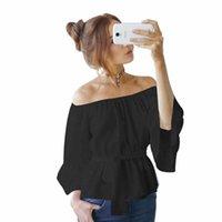 المرأة البلوزات قمصان 2021 الصيف المرأة بلوزة مثير شاطئ قمم خارج الكتف سليم مع حزام الصلبة سترة أعلى خزان عارضة قبالة الكتف