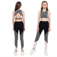 Kinder Mädchen Ballett Sport Gymnastik Amp Dancewear Outfit Trainingsanzüge Ärmelloses Mesh Racer Back Tanks Crop Top mit Leggings Hosen