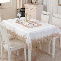 Luxo Branco Laço Algodão Quadrado Toalha de Tablecloth Cozinha Cozinha Festa De Festa de Festa de Capa de Pano de Pano De Casamento Flor