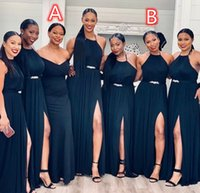Two Difference Neckline Bridesmaid Dresses Beaded Sash Long Side Split Wedding Guest Dress Sleeveless Maid of Honor Party Gowns