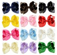 4 Inch Mix colors Big Bowknot Barrette Kids Hair Boutique Bows Baby Girls Bows Hairpins Children Hair Accessories for baby