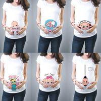 Nuevo New Lindo Embarazada Ropa de maternidad Casual Embarazo T SHIRTSBABY Impresión Divertido Embarazas Mujeres Verano Tees Embarazada Top Streetwear x0527