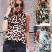 crop top Women Leopard Print Ladies Shirts And Tops Halter Blouse Sexy Sleeveless Tops Womens Clothing Summer Female Blouses