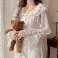 Women's Sleepwear Princess Fairy Night Dress Women White Lace Mesh Lolita Vintage Victorian Kawaii Nightgowns Peignoir Lounge Wear