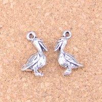 100 шт. Античная серебряная бронзовая бронза Pelican Sea Bird Charms Подвеска DIY Ожерелье Браслет Браслет Браслет 18 * 9 мм
