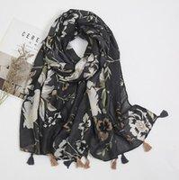 Cross Border New Ethnic Style Photo Photo bufanda elegante cálido en otoño e invierno flor negro protector solar seda bufanda hembra