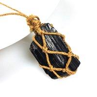 Irregular Natural Negro Energía Piedra Cuerda Braidada Colgante Hecho A Mano Collares Con Cadena Para Mujeres Hombres Moda Joyería Lucky