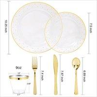 Disposable Dinnerware 60pcs lot Bronzing Wedding Party Assiette Plastique Reutilisable Tableware And Plastic Plate Cup Birthday