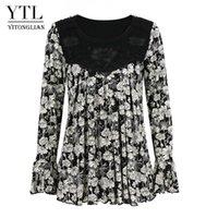 Yitonglian Women Romantic Rose Stampa Pieghelata Applique Elegante Camicetta Plus Size Casual Tunica allentata Tops Top femminile 6XL 7XL 8XL H426 Camicette S