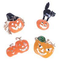 Pins, Brooches 1PC Halloween Enamel Pin Custom Coffee Moon Ghost Pumpkin Umbrella Backpack Clothes Lapel Badge Gift