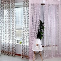 Curtain & Drapes 1M X 2M Door Window Scarf Sheer Leaves Printed Drape Panel Tulle Voile Valances