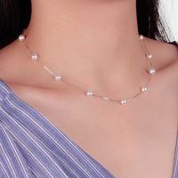 Anenjery 925 Sterling Silber 12 Stück 6mm Perle Box Kette Choker Halskette KOLYE COLARARES BIJOUX FEMME S-N54