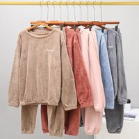 Casual Women Sets Sleeping Pants And Top T-Shirts Trousers Plush Suit Party Leisure Home Warm Soft Winter Sleepwear Women's Tracksuits