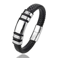 Charm Bracelets Classic Multi-layer Luxury Style Stainless Steel Men's Leather Bracelet Hand-woven Customizable DIY Quality Drop