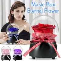 Fleurs décoratives couronnes éternelles fleur musique boîte verre dôme fait à la main préservé véritable couverture rose immortelle valentines cadeaux cadeaux mariage