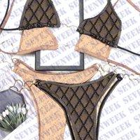 Chaîne métallique sexy maillot de bain sans dos Jacquard lettre femme bikinis ensembles d'été beach piscine natation femme maillots de bain