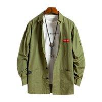 Men Shirt Casual Logo Loose Long Sleevle Turndown 100% Cotton Regular Spring Solid Green Broadcloth