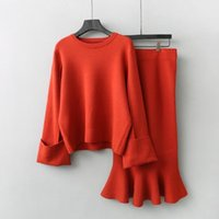 Women's Sweaters DEAT 2021 Autumn Winter Orange Sweater Two Piece Set Knitted Long Sleeve Tops Ruffle Bodycon Skirt Women Outfits MG052