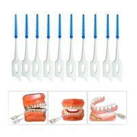 200 unids / caja doble hilo dental cepillo interdental cepillo dientes palillo de palillo silicona suave con estuche portátil herramienta limpia