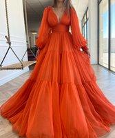 섹시한 V 넥 오렌지 시폰 댄스 파티 드레스 라인 푹신한 소매 루 긴 오른식 저녁 파티 가운 뒤로 지퍼 다시